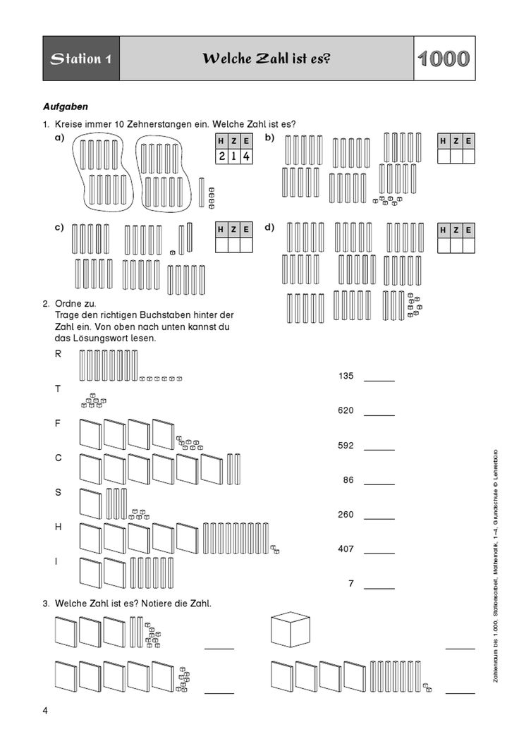 Zahlenraum bis 1.000, Stationsarbeit, Mathematik, 1. bis 4. Klasse