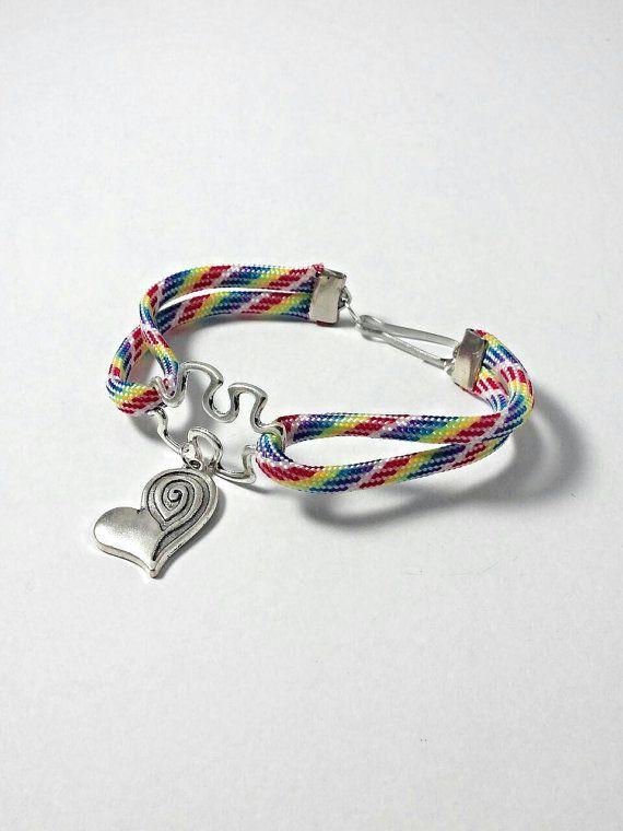 Autism paracord bracelet heart charm $14.99 https://www.etsy.com/listing/212220285/autism-bracelet-autism-jewelry-autism