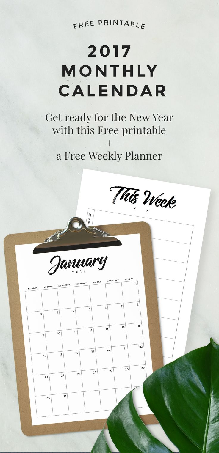 Great FREE 2017 Monthly Calendar + Bonus Weekly Planner Printable!!