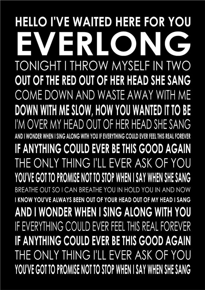 Everlong Foo Fighters Poster Canvas Wall Art Typography Song Lyrics Lyric Verse