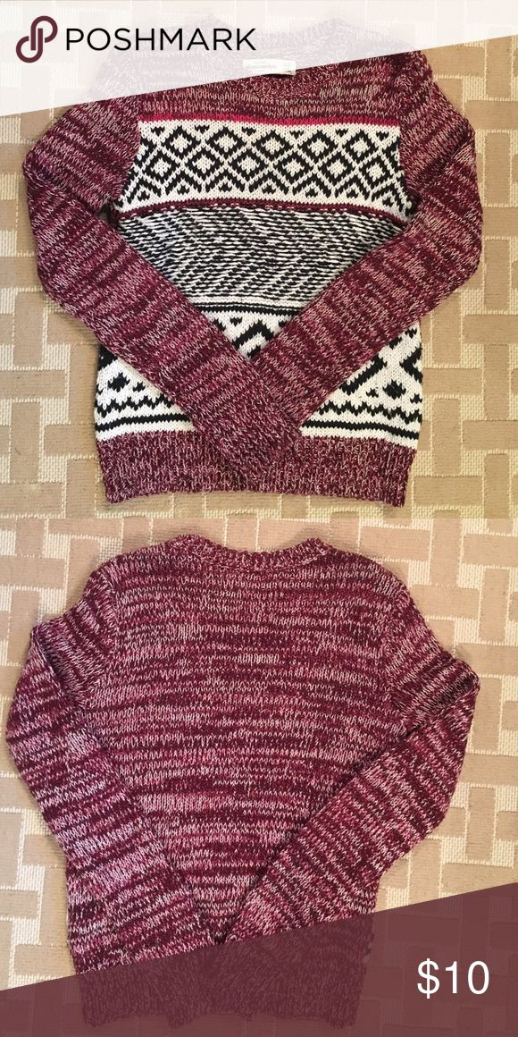 ABERCROMBIE KIDS girls sweater size 11/12 Cute ABERCROMBIE KIDS girls sweater in size 11/12. Raspberry with black and white design. Lovingly worn with life left! abercrombie kids Shirts & Tops Sweaters