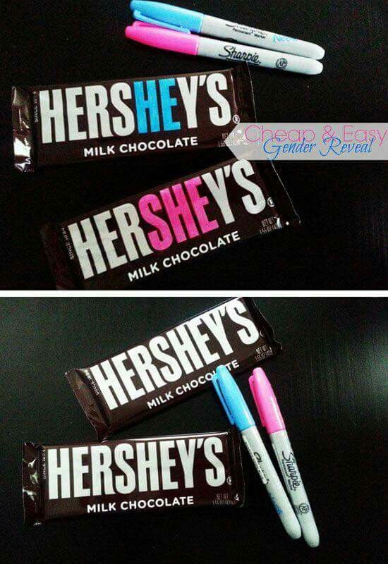Gender reveal with chocolate Hershey's bars