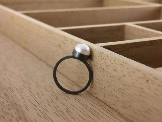 Pearl Ring Black Platinum Plated Ring Black by GirasoleHandmade