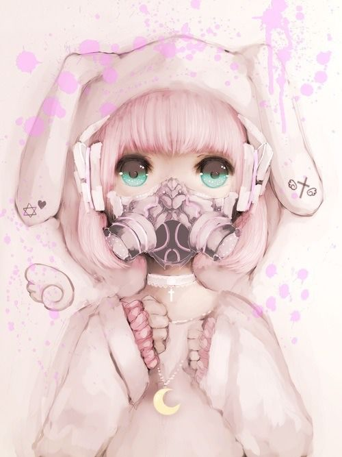 Not mine kawaii bunny girl kawaii pinterest - Anime girl with gas mask ...