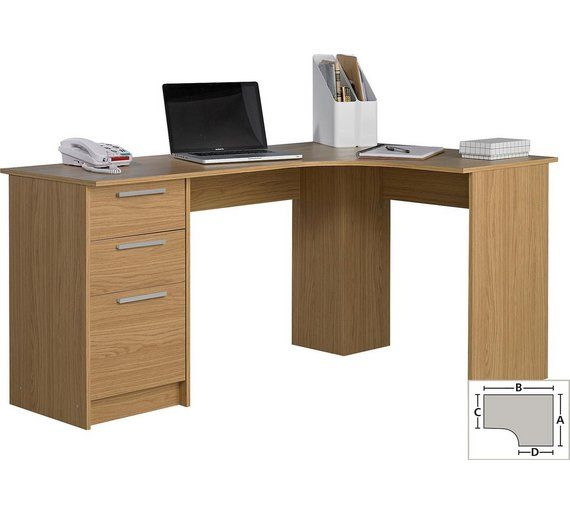 Buy HOME Large 3 Drawer Corner Desk - Oak Effect at Argos.co.uk, visit Argos.co.uk to shop online for Desks and workstations, Office furniture, Home and garden