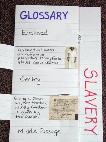 "Foldable idea for a topic and its vocabulary. This one is for ""Slavery"" but can be used in other areas, too."