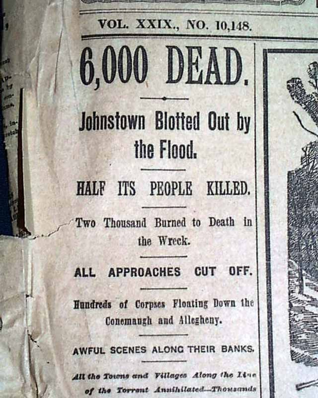 New York Flood newspapers | johnstown flood in 1889 item 539055 june 2 1889 the world new york ...