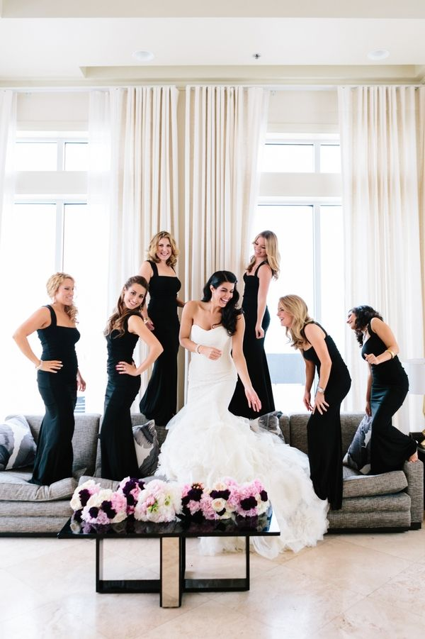 Bridesmaids in elegant black full length dresses | photo by @studio1208 | Bridal Musings