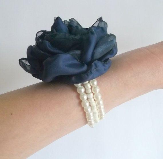 Navy Blue Flower Rose Handcuff Bracelet, Weddings Accessory in handmade, Bridesmaids Bridal Jewellery, Something Blue, Women Christmas Gift
