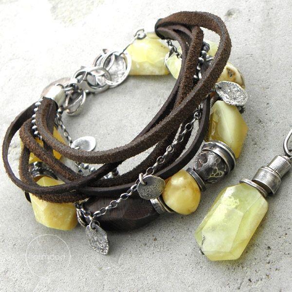 bursztyn, opal, wenge i rzemienie - komplet / formood / Biżuteria / Komplety