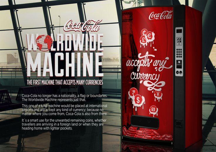 Una máquina expendedor que acepta monedas de todo el mundo. --------------A vending machine that accepts any kind of currency.