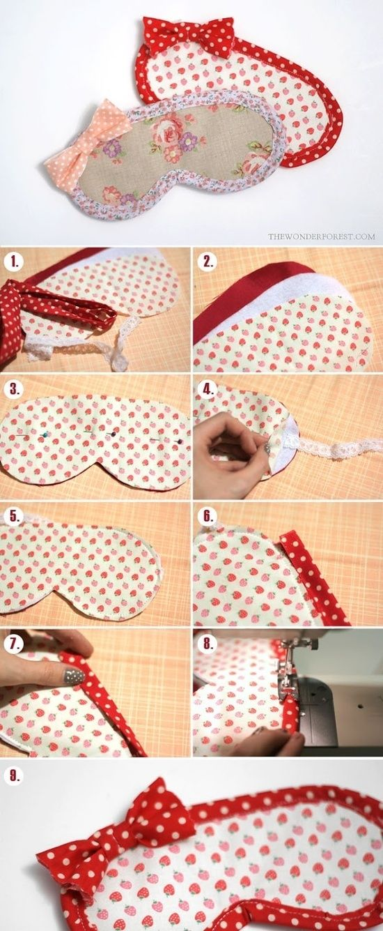 DIY: Eye mask Hostess gift Done x 8 Added insert of lentil beans for weight, rhinestone initial and pink bow