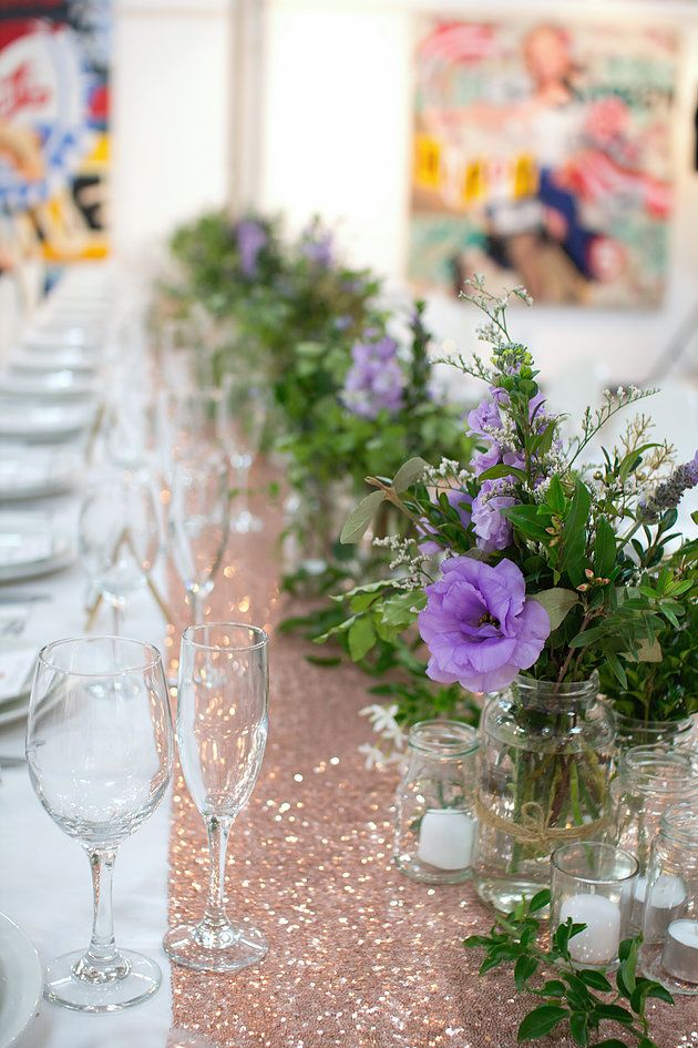 Bohemian wedding | Garden theme | Centrepieces | Purple | White | Rose Gold | Long tables | Sequin Runner | Candles | Vines | Melbourne Wedding