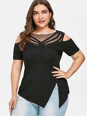 5ea6d1161ef365 XL-5XL Plus Size Cold Shoulder Split T-shirt Lady Tops Blouse Mesh Trim Tee  Top