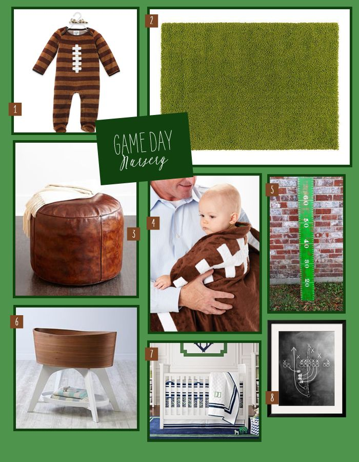 A football themed nursery is perfect for a little boy (plus, it'll make some football fan parents-to-be very happy)! | @cornerstorkbaby | cornerstorkbabygifts.com