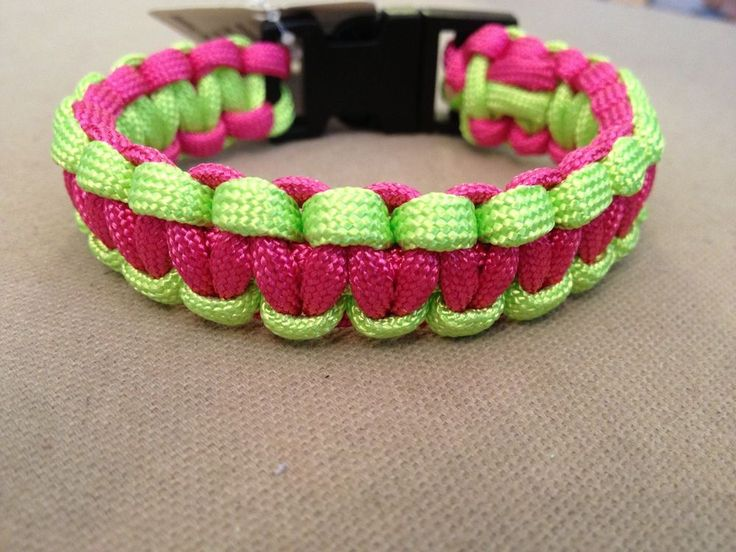 "Hot Pink & Neon Green Paracord 550 Survival Bracelet - 7-3/4"" - NEW with Tags #PepperellBraidingCompany"