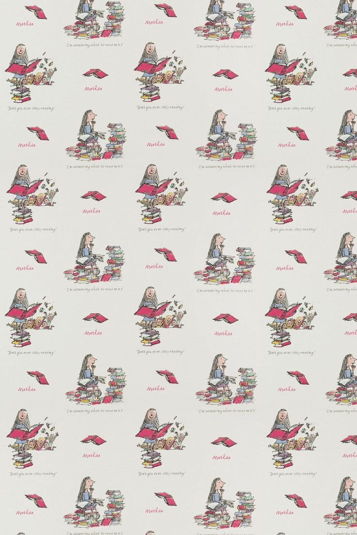 Matilda (Matilda) - Roald Dahl Fabrics - A pretty cotton fabric with beautiful Quentin Blake illustrations from the Matilda story. With mainly pink images of Matilda and her books.