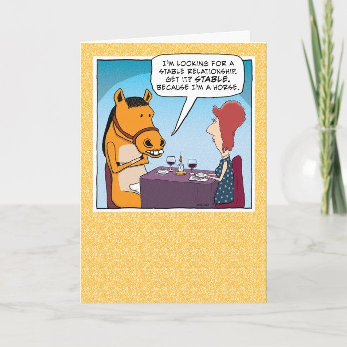 Funny Date With A Horse Birthday Card Zazzle Com Horse Birthday Birthday Cards Custom Holiday Card
