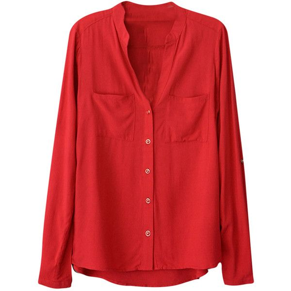 Womens Plain V Neck Single-breasted Long Sleeve Blouse Red (£12) ❤ liked on Polyvore featuring tops, blouses, blusas, shirts, red, v neck tops, v-neck shirt, v-neck tops, red shirt and long sleeve red blouse