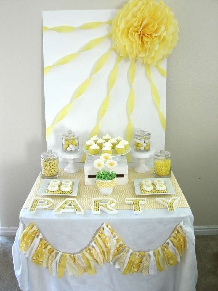 Daisies summer party dessert table! See more party planning ideas at CatchMyParty.com!