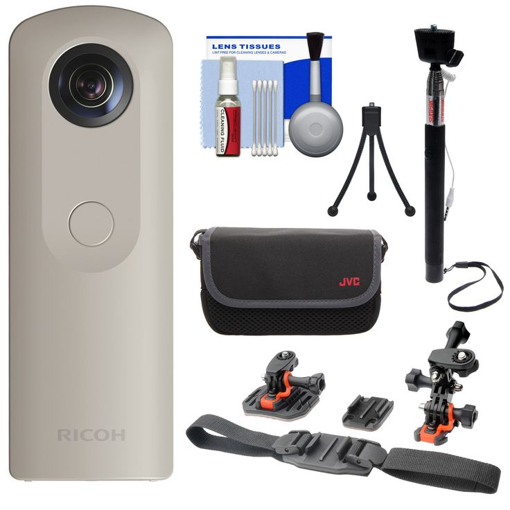 """Ricoh Theta SC 360-Degree Spherical Digital Camera (Beige) with Helmet Mounts + Case + Selfie Stick + Mini Tripod + Kit. KIT INCLUDES 6 PRODUCTS -- All BRAND NEW Items with all Manufacturer-supplied Accessories + Full USA Warranties:. [1] Ricoh Theta SC 360-Degree Spherical Digital Camera (Beige) +. [2] JVC Camera & Accessory Case +. [3] Vivitar All-in-1 Helmet Kit + [4] Sunpak 43"""" Wired Selfie Wand +. [5] PD Flexible Table Mini Tripod + [6] PD 5pc Complete Cleaning Kit."""