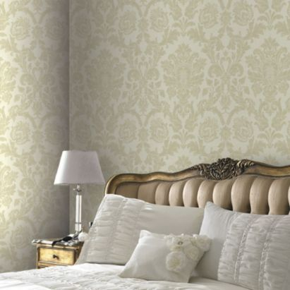 Gold Kensington Damask Wallpaper Silver WallpaperLiving Room