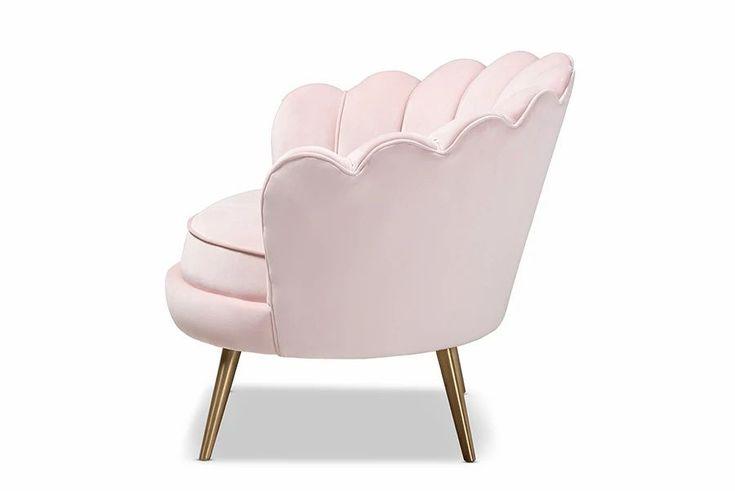 Cosette glam light pink velvet brushed gold seashell