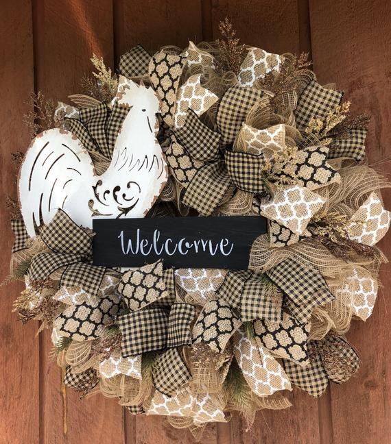 Rustic Rooster Wreath Mesh Wreath Diy Wreath Decor Deco Mesh Wreaths Diy