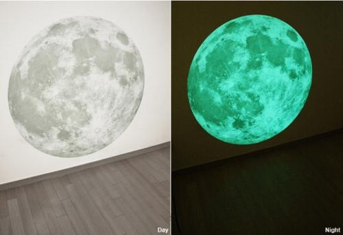 giant glow-in-the-dark moon decal