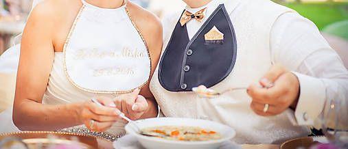 galanteria / Svadobné podbradníky Sme svoji zlaté s výšivkou