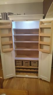 Handmade larder cabinet. Handpainted in farrow and ball skimming stone. Fitted Furniture in Burton upon Trent, Staffordshire.