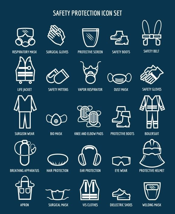 Work and occupational safety icons @creativework247
