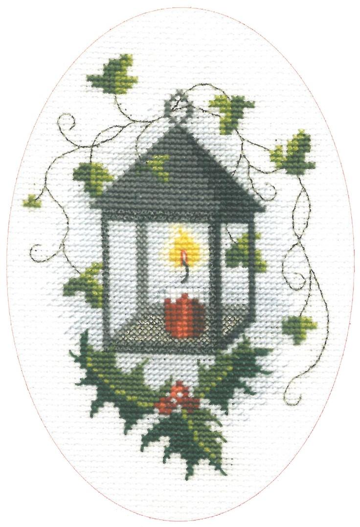 Derwentwater cross stitch Christmas card
