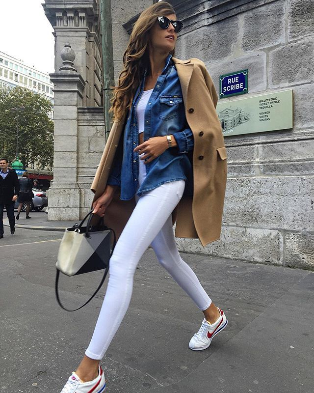 Camel coat, denim top, white shirt, white jeans, sneakers