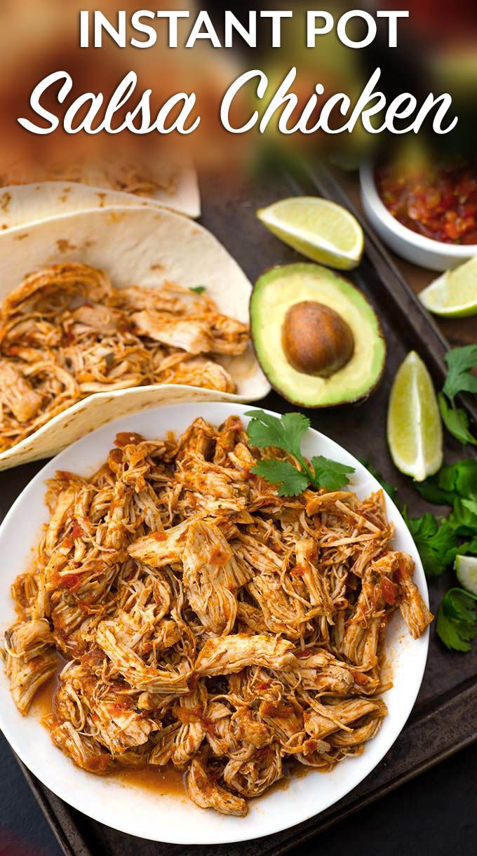 Instant Pot Salsa Chicken is Mexican flavored shredded chicken breast that you can use for tacos, burrito bowls, and casseroles. Lots of flavor, and this pressure cooker shredded chicken is so useful! simplyhappyfoodie.com #instantpotrecipes #instantpotsalsachicken #instantpotshreddedchicken #Instantpotchickenbreast #pressurecookerchicken