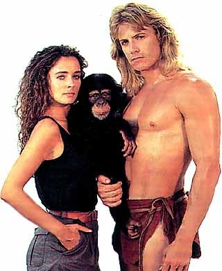 Wolf Larson as Tarzan and Lydie Denier as Jane Porter in Tarzan, 1991-1998 TV Series: Caravaggio, Serie Année, Rocky Horror, 90, Tom Cruise, Behold The Man!, Tv Series, Horror Picture, Année 90