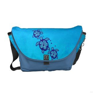 3 Blue Honu Turtles Courier Bags