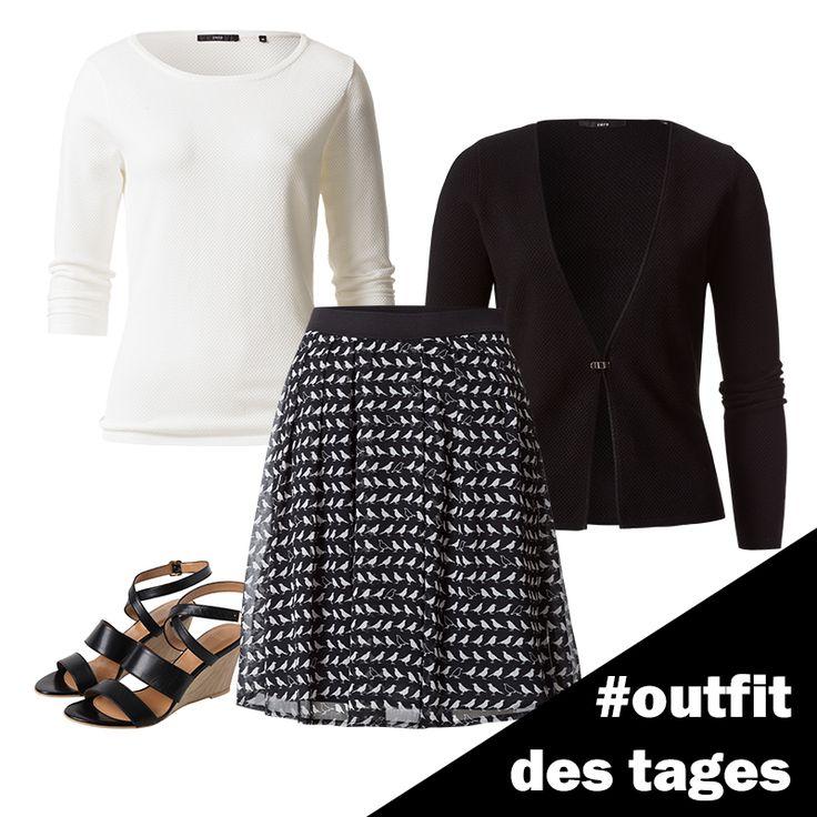 Rock mit Vogel-Print, Strickpullover und Keil-Sandalen von zero! #zerofashion #outfit #ootd