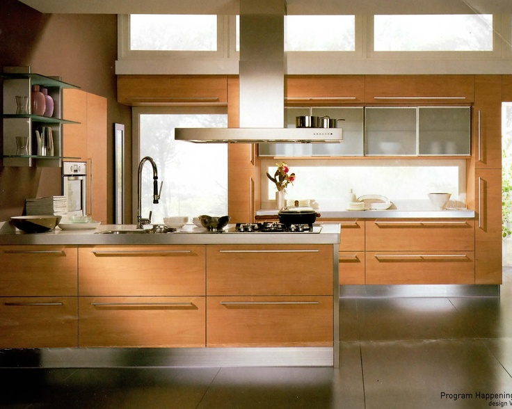 Italian designed Scavolini kitchen with white granite and beech wood, upper cabinets in frosted glass and stainless steel