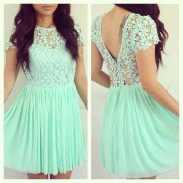 2015 Girly de robe de bal Mint Green manches courtes Top en dentelle fleurs en…