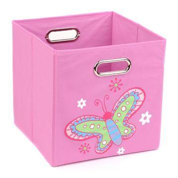 Pink Storage Bin with Butterfly | Kirklands - 12.00 -