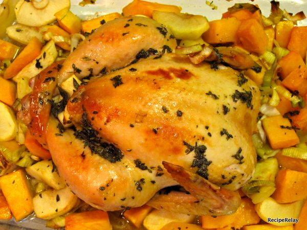Herb Roasted Chicken With Apple, Butternut And Leek Puree Recipe ...