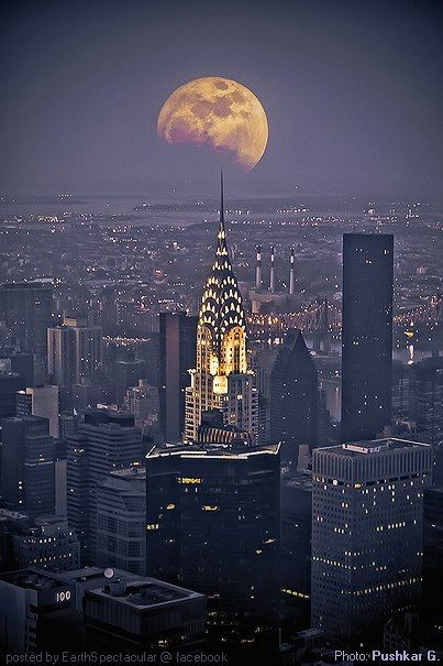 Moon Over New York City.I want to go see this place one day. Please check out my website Thanks.  www.photopix.co.nz