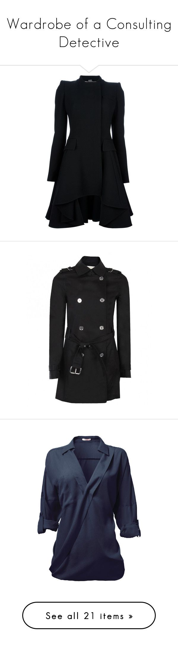 """""""Wardrobe of a Consulting Detective"""" by daughter-of-the-doctor ❤ liked on Polyvore featuring sherlock, art, outerwear, coats, jackets, dresses, casacos, long sleeve coat, alexander mcqueen coat and short coat"""