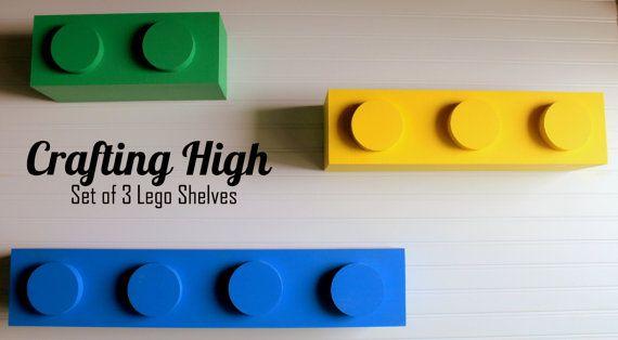 Set of 3 Lego Inspired shelves by OnACraftingHigh on Etsy                                                                                                                                                                                 More