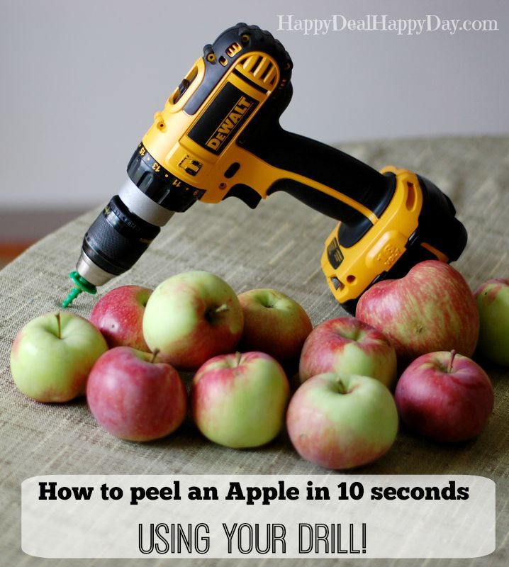 Watch a 19 second video to see how easy it is to use your drill to peel an apple in about 10 seconds!!! Totally cool kitchen hack!! happydealhappyday.com