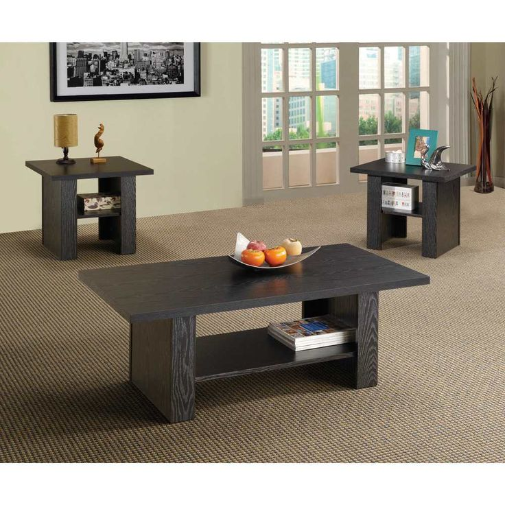 3 Piece Living Room Furniture Set Modern Black Oak Wood Coffee Table End Tables #3PieceLivingRoomFurnitureSet #Contemporary