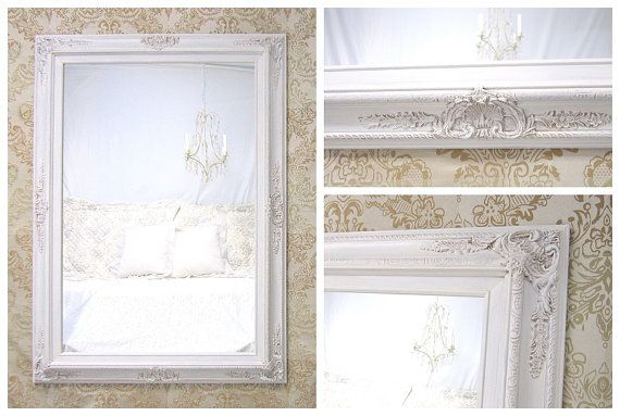 """Decorative Wall Mirrors For Sale DECORATIVE ORNATE MIRRORS For Sale Large Mirror Mantel 44""""x32"""" Ivory White Framed Vanity Mirror Shabby Chic"""