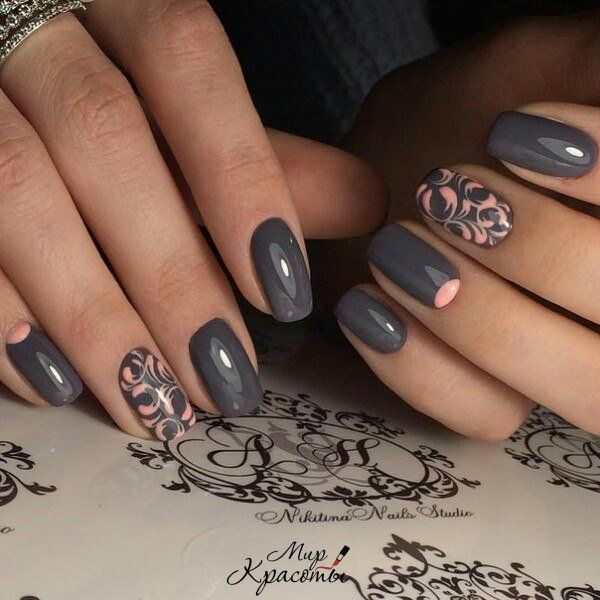 Beautiful nails, Beautiful patterns on nails, Business nails, Everyday nails, Gray nails, Grey and pink nails, Nails for September 1, Office nails