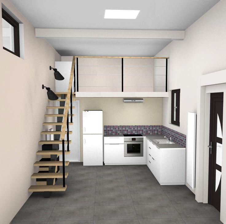 Création d'un studio avec mezzanine. Transformation d'un garage en studio d'habitation ...